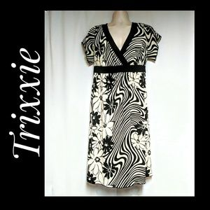 Trixxi Black Cream Floral Stripes Dress Size 18